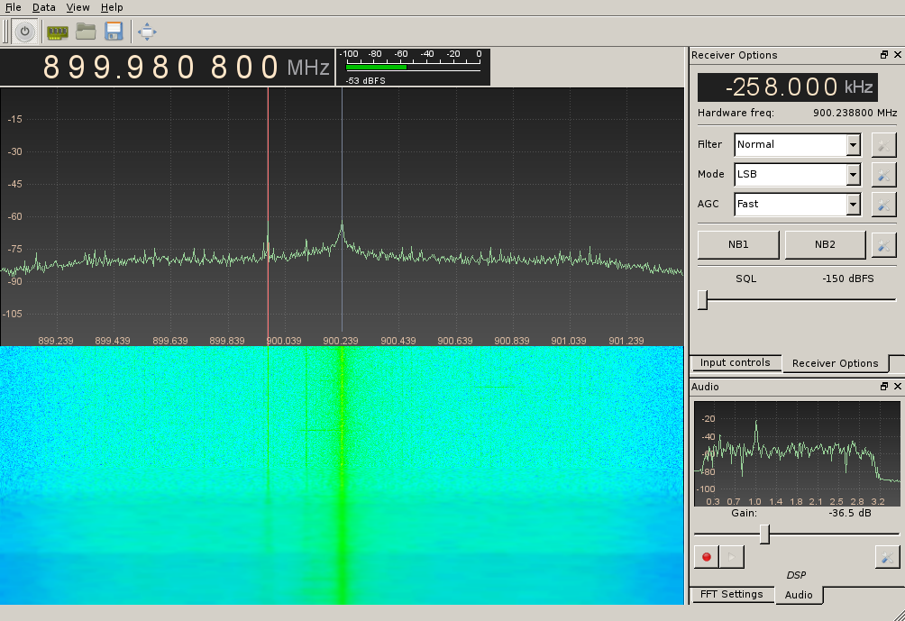GQRX gnuradio waterfall